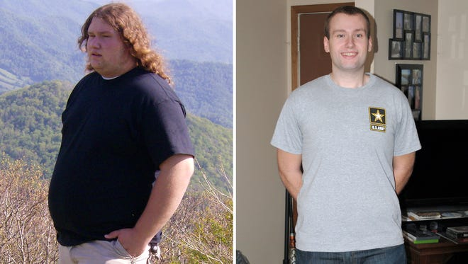 Army recruit Brian Bourne before his 150-pound weight loss, left, and after.