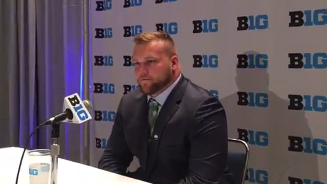 Michigan State offensive lineman Brian Allen at Big Ten media days.