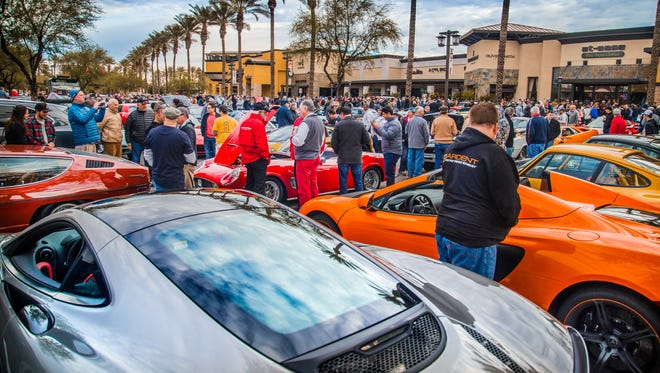 The Scottsdale Motorsport Gathering showcases exotic cars and some muscle cars. The event, known as Cars N' Coffee, is moving from its current location of the Shops at Gainey Village in Scottsdale to a larger venue, the Scottsdale 101 Shopping Center.