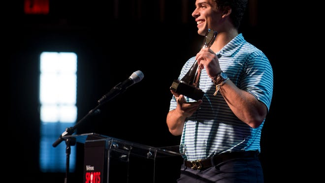 Cooper Hardin of Farragut High School was presented the Leadership Award during the News Sentinel Sports Awards ceremony Wednesday night at the Tennessee Theatre.