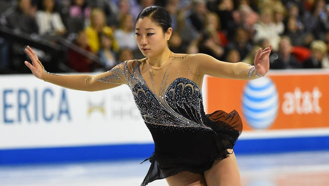 Mirai Nagasu of the USA performs during the ladies free skate for the 2014 Skate America grand prix on Sunday.