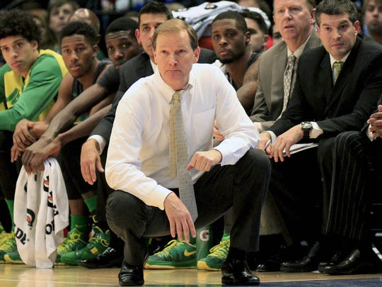 Dec 21, 2015; Birmingham, AL, USA; Oregon Ducks head coach Dana Altman during the game against Alabama Crimson Tide at Legacy Arena. The Ducks defeated the Crimson Tide 72-68. Mandatory Credit: Marvin Gentry-USA TODAY Sports