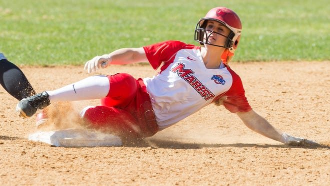 Marist softball's Claire Oberdorf slides into second base.