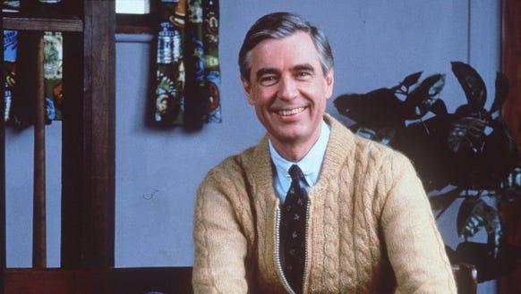 """Fred Rogers on the set of his television show, """"Mister"""