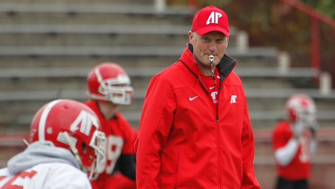 Austin Peay coach Kirby Cannon watches the first day of spring practice.