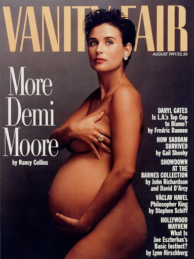 "A pregnant Demi Moore appears on the cover of ""Vanity Fair"" magazine in August 1991."