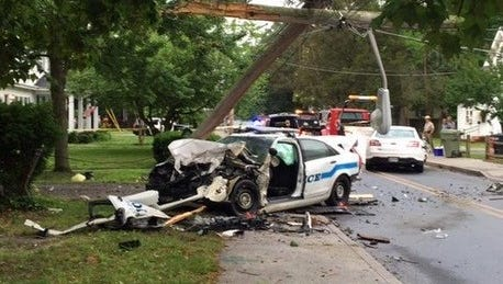Crash scene from June 9, 2015, head-on collision involving Michael Rayne and a Salisbury Police officer.