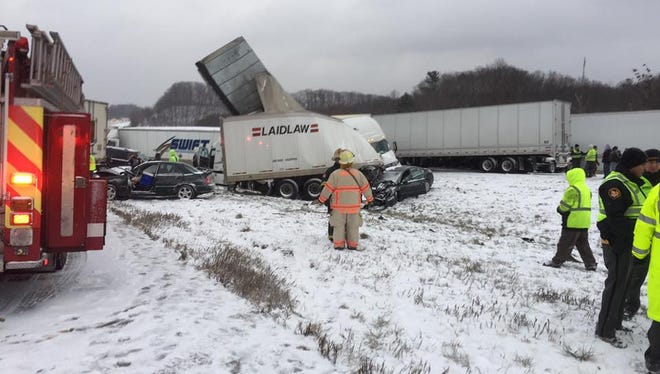 A 50-vehicle pileup east of Cleveland forces shutdown of I-90 for some 14 hours on Dec. 9, 2016.