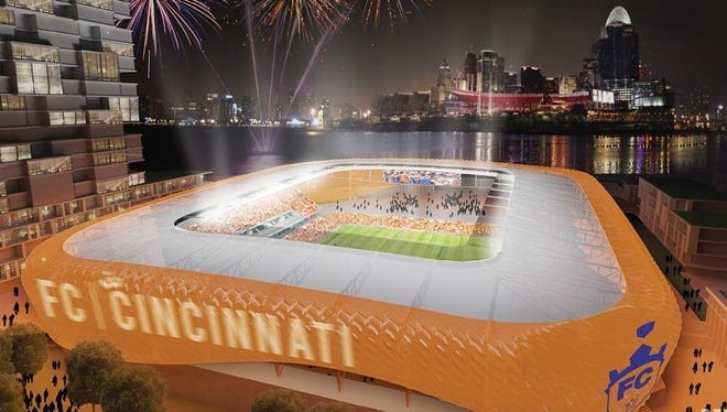 A rendering of Futbol Club Cincinnati's preliminary Major League Soccer stadium design, shown from the vantage point of Newport.