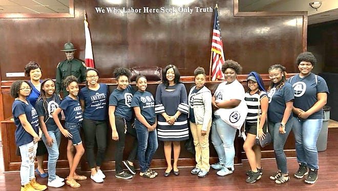 Clerk of Court Gwen Marshall spoke to the a youth group.