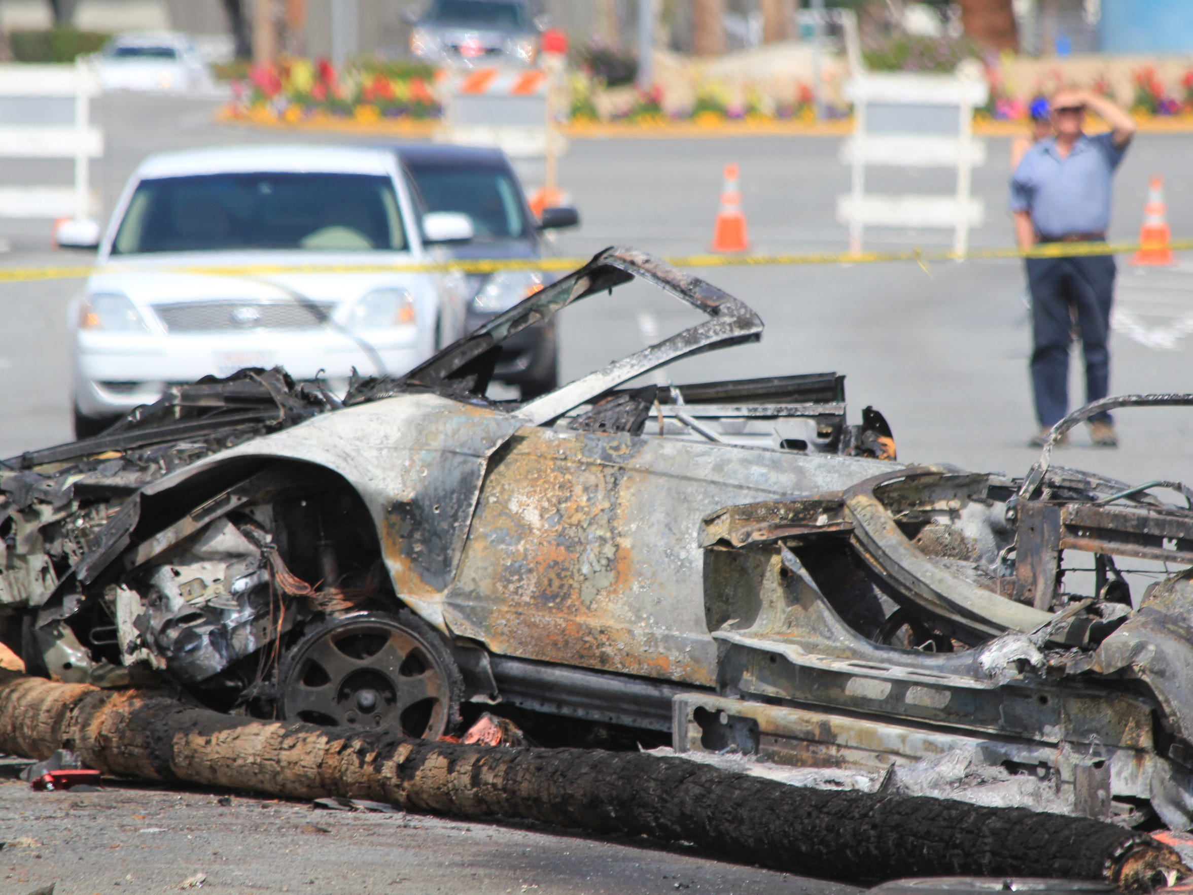 Wreckage of the chased vehicle involved in a fatal high speed puruit that killed Cathedral City officer Jermaine Gibson, and injured two others in Palm Springs, March 18, 2011.