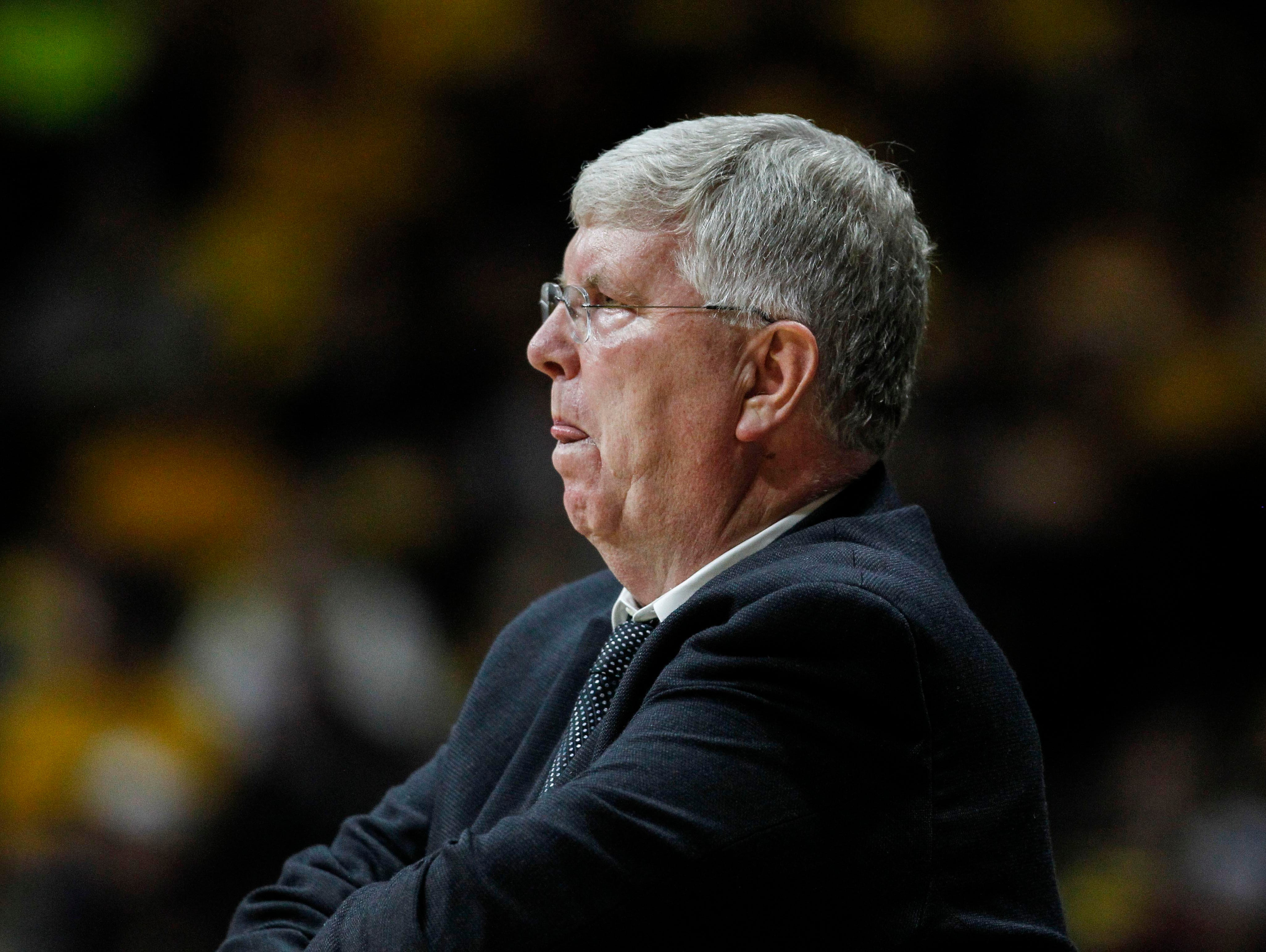 Mar 4, 2015: Utah State Aggies head coach Stew Morrill reacts against the Wyoming Cowboys during the first half at Arena-Auditorium. The Cowboys defeated the Aggies 76-53.