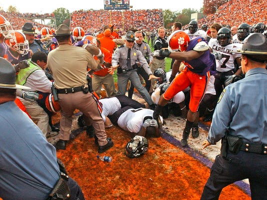 Clemson South Carolina USC 2004 brawl rivalry