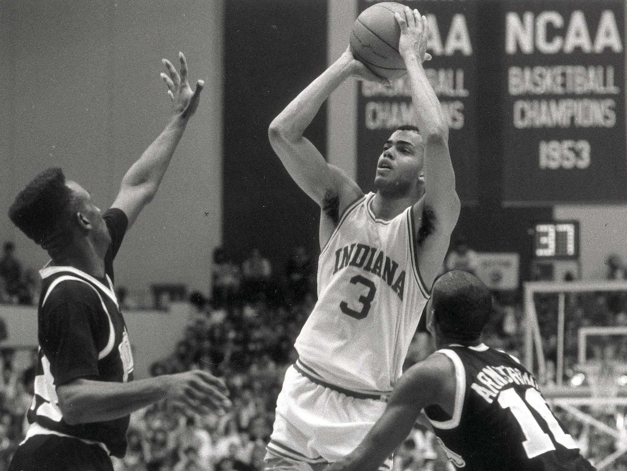 Jay Edwards gets a shot and a foul as he is guarded by Iowa's James Moses and B.J. Armstrong on Jan. 30, 1989. Edwards was the Big Ten's top freshman one season and its top player the next.