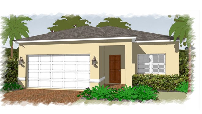 An artist's conception of the Fantasia, a four-bedroom, two-bath home under construction at Arrowhead Reserve, a community of single-family homes in Immokalee.