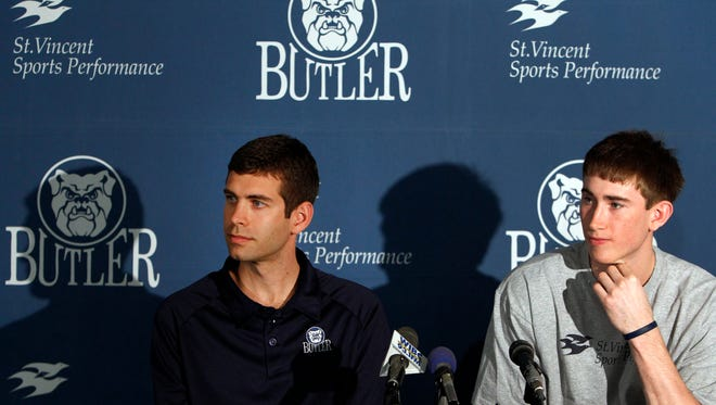 Butler basketball player Gordon Hayward made his NBA plans official Friday, May 7, 2010 at Hinkle Fieldhouse in Indianapolis, IN, announcing that he's staying in the NBA draft. Joining Hayward at the announcement was Butler head coach Brad Stevens. (Sam Riche / The Indianapolis Star)