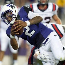 TCU Horned Frogs quarterback Trevone Boykin (2) stretches for a touchdown against the Samford Bulldogs during the second half at Amon G. Carter Stadium in Fort Worth on August 30, 2014.  The Horned Frogs defeated the Bulldogs 48-14. (Jerome Miron-USA TODAY Sports)