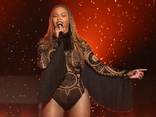 "Beyonce performs ""Freedom"" at the 2016 BET Awards in"