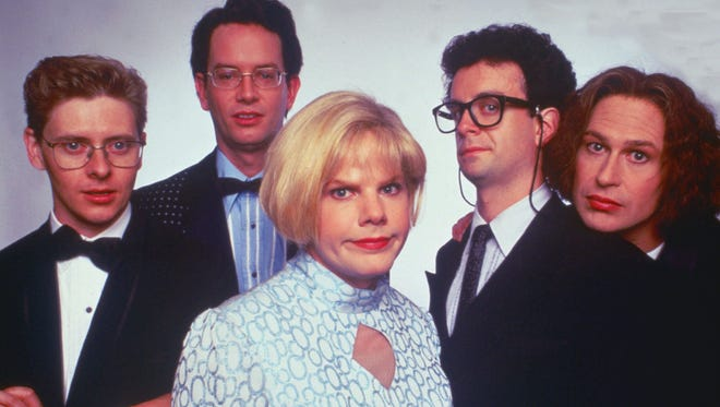 "A 1996 publicity photo for the The Kids in the Hall movie ""Brain Candy."" Pictured (left to right) are David Foley, Mark McKinney, Bruce McCulloch, Kevin McDonald and Scott Thompson."
