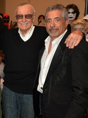 "Wizard World CEO John Macaluso, right, poses with ""Spider-Man"" co-creator Stan Lee at a 2013 Wizard World event in Nashville, Tenn."