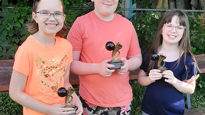 YBA Saturday Kids Bowling League champions for 2020, from left, Alyssa Mannella, Quentin Bloome and Emerie Bloome.