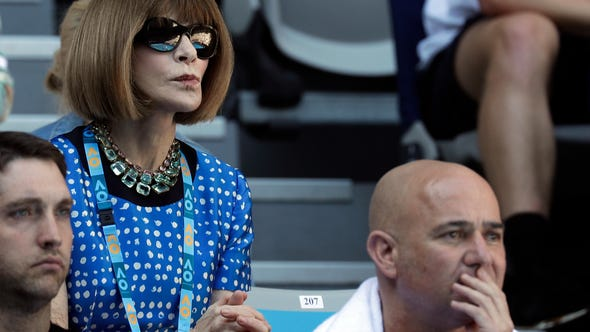 581d57fda3ab Fashion editor Anna Wintour watches the fourth round match between United  States  Frances Tiafoe and