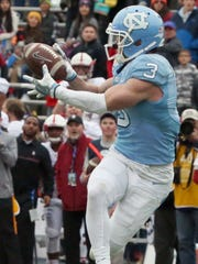 North Carolina wide receiver Ryan Switzer catches a pass a yard out of the end zone with less than a minute left in the game Friday in the Sun Bowl. The completion led to a touchdown but the Stanford Cardinal prevailed over the Tar heels 25-23.