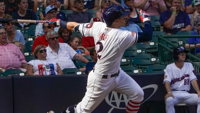 Nate Orf hits a solo home run during the seventh inning against the Twins on Wednesday. It was Orf's first hit in the big leagues.