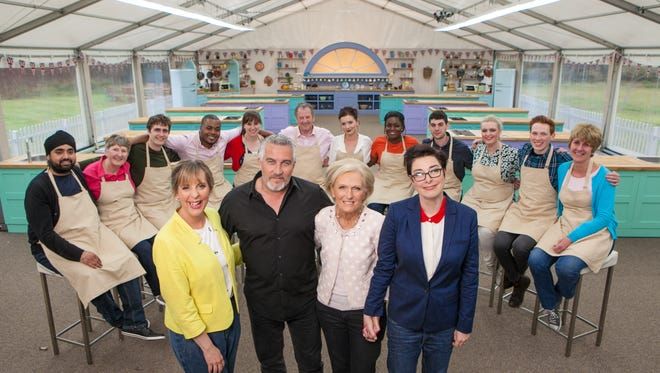 The cast and contestants of 'The Great British Baking Show' season four on PBS   Photo Credit must read  Mark Bourdillon/Love Productions