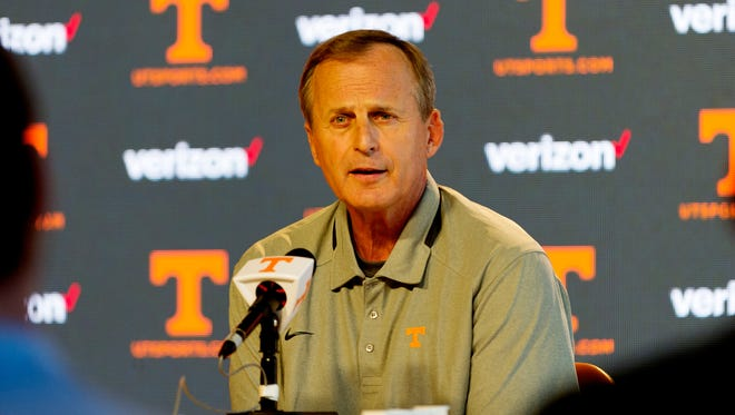 Vols coach Rick Barnes speaks during a press conference Tuesday, Aug. 22, 2017.
