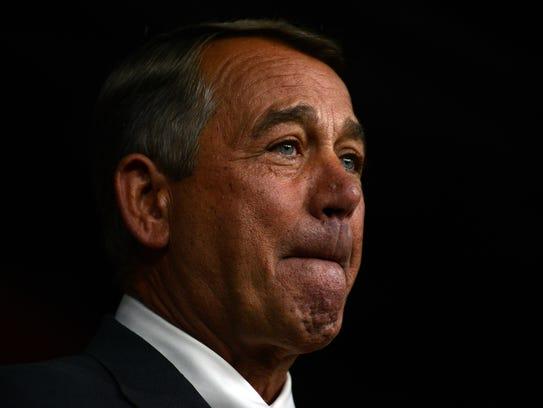 House Speaker John Boehner announces his resignation