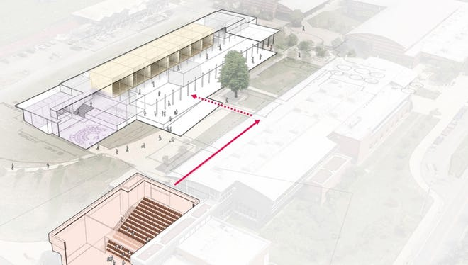 Revised plans for a new performing arts center at Bainbridge High School call for converting the existing commons (bottom left in image) into a theater. The district's 2016 bond included money for the theater, but Bainbridge Island School District now lacks $8 million to $10 million for the theater.