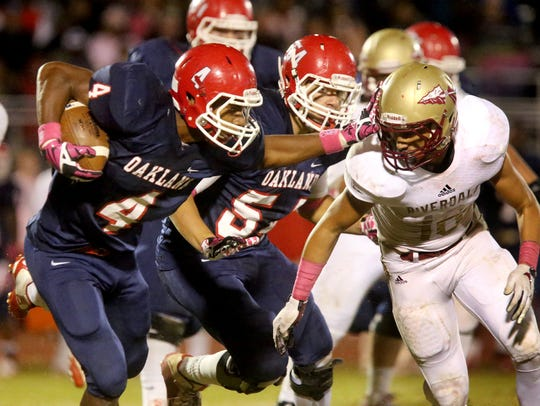 Oakland's Lazarius Patterson (4) rushed for 1,441 yards