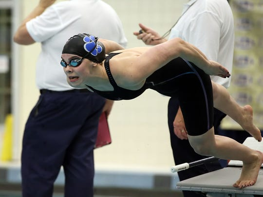 Dallastown's Kacey Oberlander, comes off the blocks