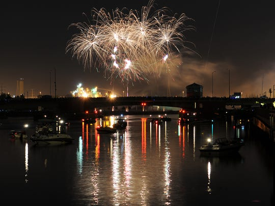 The Festival Foods Fire Over the Fox fireworks display in downtown Green Bay.