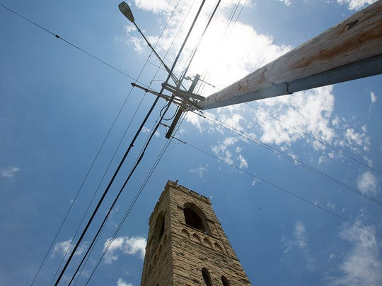 Electrical lines next to the Church of the Intercession