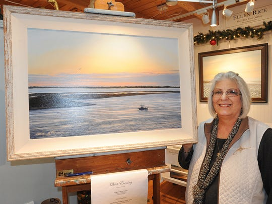 Artist Ellen Rice with some of her work. The Southeastern Delaware Artist Studio Tour returns to the Bethany Beach-Ocean View area over the Thanksgiving Weekend as local artist's opened their homes and studios to the public.