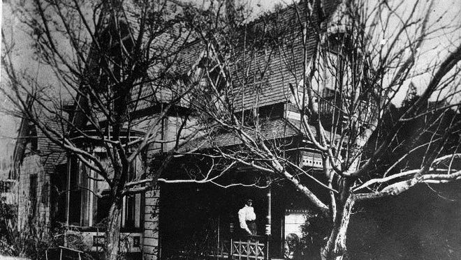 The Ernest Krause residence, 906 N. Stanton, around 1905. Built in 1882 of California redwood, it was the earliest residence north of the rail tracks in El Paso. It was razed in 1969.
