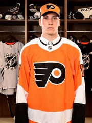 CHICAGO, IL - JUNE 23:  Nolan Patrick poses for a portrait after being selected second overall by the Philadelphia Flyers during the 2017 NHL Draft at the United Center on June 23, 2017 in Chicago, Illinois.  (Photo by Stacy Revere/Getty Images)
