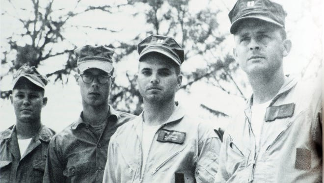 The flight crew of the highly decorated helicopter gunship crew, Gunnery Sgt. Leroy Poulson, Lance Cpl. John Phelps, Capt. Rupert Fairchild, and Capt. Stephen Pless involved in a rescue mission during Vietnam in 1967.