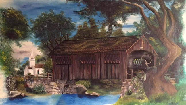 The Lebanon County Historical Society is trying to track down some information about this mural. A man uncovered the mural while renovating a rental property he recently purchased in Richland. He said the mural is in pristine condition. The mural is about 7 feet wide by 5 1/2 feet tall. The bridge plate says 'Delps 11/65,' and in the bottom right, the mural is signed 'Barrett Wolfe.'  Do you know anything about the mural? The Lebanon Daily News has partnered with the Lebanon County Historical Society to feature a mystery photo in every Tuesday's print edition, on LDNews.com and the LDNews Facebook page. Email Lisa Layser office@lchsociety.org or call 717-272-1473 if you have any information.