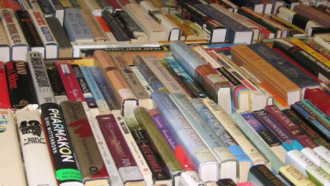 Books that are available for sale are lined up at the Hershey Public Library, 701 Cocoa Ave., Hershey. Friends of  the Hershey Public Library will hold their 36th annual book sale Saturday, Aug. 6, through Thursday, Aug. 11, during library hours.