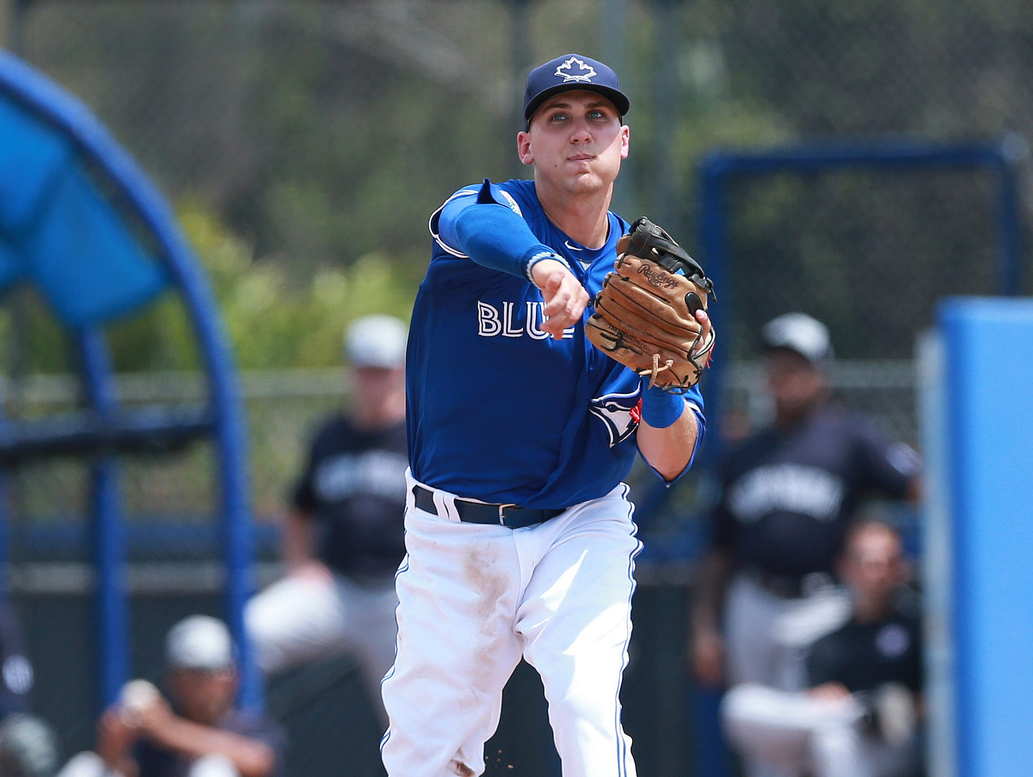 Rocky Mountain graduate Andy Burns, shown in a spring training game, made his MLB debut with the Toronto Blue Jays this week.