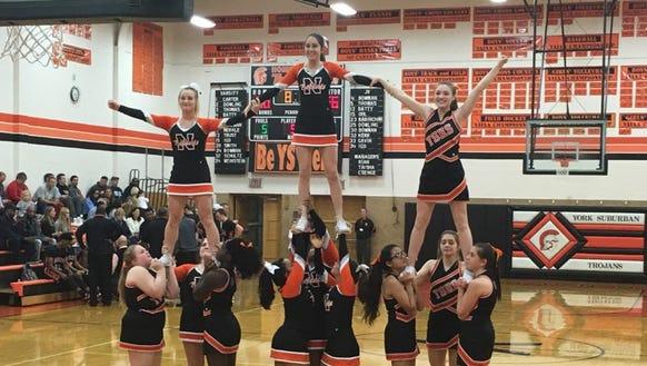 The York suburban and Northeastern cheerleaders cheer