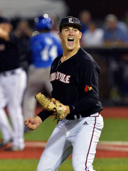 Louisville pitcher Nick Burdi reacts after the final out of an NCAA college baseball regional tournament game against Kentucky in Louisville, Ky., Sunday, June 1, 2014. Louisville defeated Kentucky 4-1. (AP Photo/Timothy D. Easley)