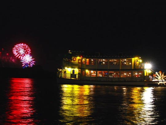 Watch the fireworks from The River Belle, which departs