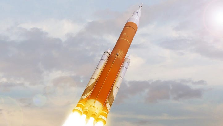 An artist rendering of NASA's Space Launch System launching