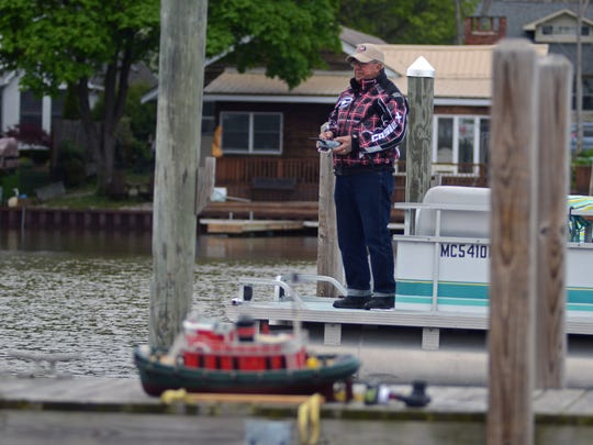 Bill Welser, of East Chin,  operates his RC model boat Sunday, May 15, at the St. Clair Boat Harbor.