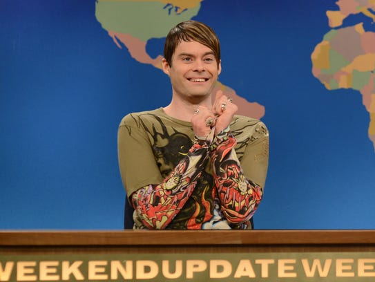 "Bill Hader as Stefon in a March 2013 episode of ""Saturday"