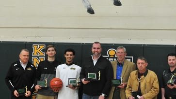 Northeastern's 1,000-point club: (from left) Brent Ross, Bailey Stewart, Tyler Smith, Cory Ryan, Daryl Lane, Bob Wright and Cory Ross (Not pictured, Ryan Kauffman).